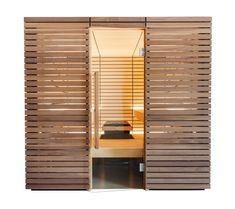 Designsauna mit Nussverkleidung und Linden-Inneneinrichtung. Saunas, Divider, Room, Design, Furniture, Home Decor, Panelling, Interior, Bedroom