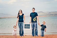 Cute family picture idea without the chalkboard - mom & dad hold hands