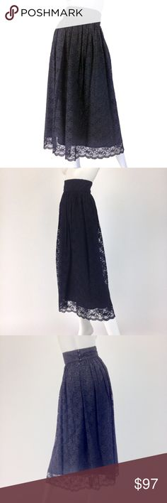 VINTAGE LAURA ASHLEY LACE SKIRT   Black 80s MAXI Beautiful black lace vtg 80s skirt from Laura Ashley! Stunning high waist, longer maxi/tea length + adorable details..*-*!!  •Gorgeous black lace overlay •High waist w/ wide waistband •Rear lace-covered 3 button closure + zip •Maxi or tea length depending on height •Silky black poly slip •65% viscose/ 35% nylon  CONDITION: Excellent vtg condition. NOS. Tags + extra button attached  SIZE: Tagged sz 8 (vtg sizing). Best fit:XS.  •Waist:25 •Hips…