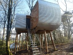 Treehouse tiny house. A small, modern treehouse on Brockloch Farm in Dumfries and Galloway, Scotland, UK.