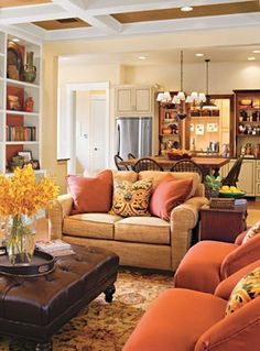 Beautiful family room- kitchen transition  Colorful and cozy