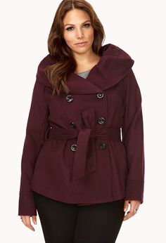 Darling Oversized Collar Pea Coat | FOREVER21  A pea coat is a fall must have #Burgundy #Ruffles #MustHave