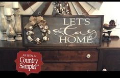 Let's stay home sign with cotton wreath / featured in Country Sampler magazine / farmhouse sign / cotton decor / rustic sign / home sign Rustic Signs, Rustic Decor, Country Sampler Magazine, Cotton Decor, Cotton Wreath, Lets Stay Home, Handmade Signs, Burlap Bows, Farmhouse Signs