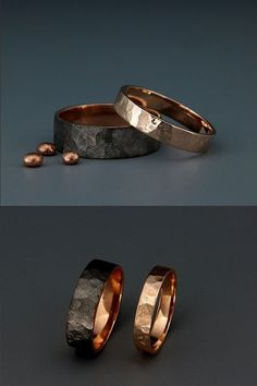 Black and Bright Rose Gold Handmade solid rose gold faceted bands set. Wedding band is the one piece of jewelry you wear the most. Hence, its design should go along with everything you wear, from a cocktails dress or suit to your casual outfit. Wedding Band Sets, Wedding Men, Diamond Wedding Bands, Light Wedding, Rose Gold Bands, Black Wedding Bands, Unique Mens Wedding Bands, Matching Wedding Bands, Wedding Suits