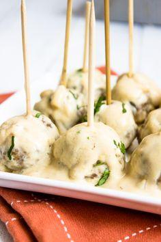 Easy Creamy Roasted Garlic Meatballs | Brunch Time Baker