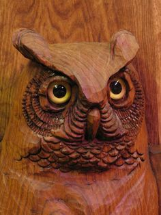 Large Butternut Owl Carving