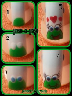 Diseños hermosos de esta artista... Animal Nail Designs, Disney Nail Designs, Nail Art Designs Videos, Animal Nail Art, Pedicure Nails, Diy Nails, Manicure, Nail Art 2014, Nail Art For Kids