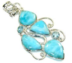 $90.15 Natural Blue Larimar Sterling Silver Pendant at www.SilverRushStyle.com #pendant #handmade #jewelry #silver #larimar