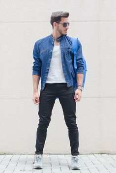 Young Urban Male! Men's Casual Street Styles. Blue Jeans Jacket, white Tee and Black Skinnies.