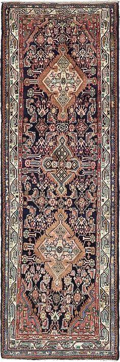Navy Blue 3' 4 x 10' 6 Darjazin Persian Runner Rug | Persian Rugs | eSaleRugs