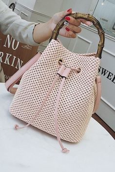 Women's Pink Straw Bucket Style Handbag