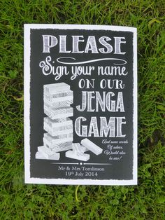 PERSONALISED PRINT wedding JENGA GUEST BOOK vintage chalk style sign A3/A4
