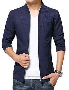Veste Pour des hommes Manches longues Décontracté / Grandes Tailles Coton / Polyester Couleur plaine Noir / Bleu de 5191217 2016 à €27.43