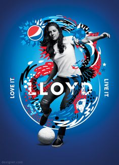 Love the interplay of art and photography, and the consistent color scheme. Pepsi Love It. Live It. Football. Campaign