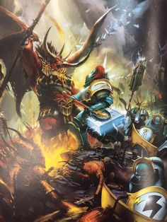 tinyfulgrim:  the-legend-of-lejon:  Age Of Sigmar art appreciation post.Tired of seeing all the negative posts about switching to other gaming systems, how the Stormcast Eternals look like space marines and how bland the starter set rules are. How about we take some time to admire this stunning artwork?  OH DAYMN  I know its not 40K, but it looks so damn cool!