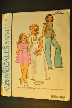 Dress or Top Girls' Size 12 Uncut Vintage 1970s Sewing Pattern-McCall's 5534. $7.98, via Etsy.