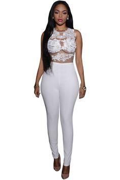 White Mesh Lace Applique Jumpsuit LAVELIQ SALE