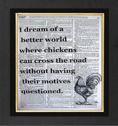Chicken Crossing the Road Quote Chicken Motives by sherryannshop