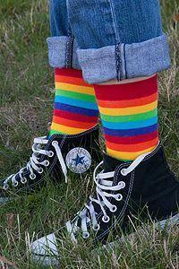 Pride LGBTQ Awareness One Size Unisex Black Rainbow Cuff Crew Socks