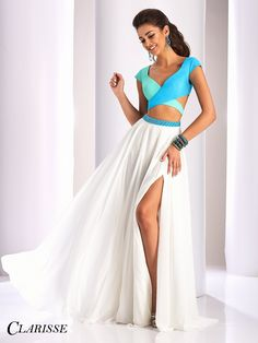 Clarisse Prom 3070 Ivory/Multi Two-Piece Prom Dress