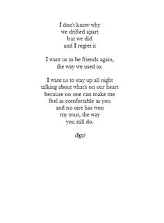 I want to be friends again