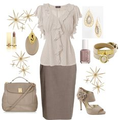 Taupe Outfit, created by leisa-708 on Polyvore