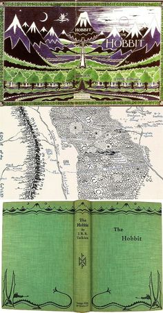 The Hobbit: covers and map, miniature