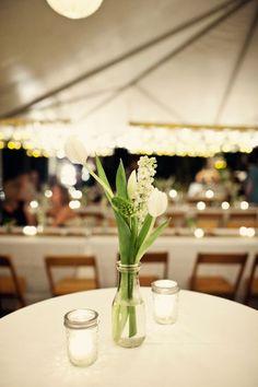 simple white tulip wedding centerpiece / http://www.himisspuff.com/white-tulip-wedding-ideas-for-spring-weddings/3/