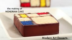 The making of the Mondrian Cake, Caitlin Freeman's incredibly inspired cake based on Piet Mondrian's painting.  This cake and recipe can be seen on the cover of Modern Art Desserts, published by Ten Speed Press, April 2013.  In the video, produced by Clay McLachlan, we see how the Mondrian Cake's are cut up and put back together!  A claypix video.    Music: Une Glace au Citron [A Lemon Ice] (acoustique) by Miss Emma (http://profile.myspace.com/emmanaveira)