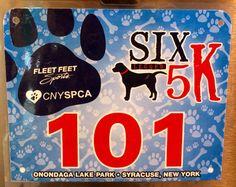 10th 5K - SIX LEGGED 5K.  April 13, 2014.  OLP, Liverpool, NY.  Fun Run with Kai - No Time. Running Bibs, Fleet Feet, April 13, Liverpool, Kai, Legs, Bridge, Chicken