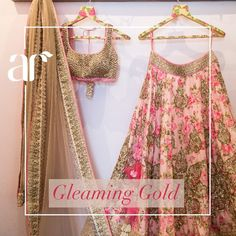Anushree Reddy golden work on floral lehenga with golden blouse and duppatta Indian Bridal Wear, Indian Wedding Outfits, Bridal Outfits, Indian Outfits, Indian Wear, Floral Lehenga, Pink Lehenga, Bridal Lehenga Choli, Lehenga Choli With Price