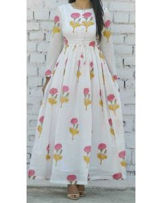 Buy The Secret Label White Cotton Printed Kurti online Pakistani Dresses, Indian Dresses, Indian Outfits, Indian Designer Outfits, Designer Dresses, Frock Patterns, Kurti Patterns, Cotton Gowns, Kurta Designs Women