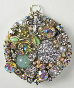 Round Heirloom Pendant of vintage jewelry pieces  Rhinestones and Aurora Borealis crystals