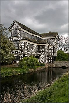 Little Moreton Hall. Cheshire. 15th c. moated half-timbered manor house.