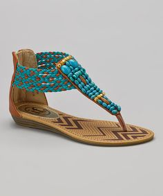 Love this Tan & Turquoise Beaded Sandal on #zulily! #zulilyfinds