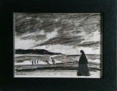 Sinister seascaper, nun on the beach 20 x 25 cm including frame, for hunging or standing For more details check my etsy shop (link below)