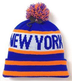 half off 43349 7f2ea NEW YORK POM BEANIE Mets Knicks Colors NEON ORANGE Winter Knit Ski Hat  Men Women  KBTrading  Beanie