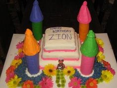 Zion's 1st birthday cake. My grandmother always made her grandchildren castle cakes for their 1st and 3rd birthday.
