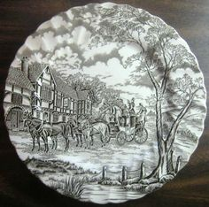 Decorative Dishes - Dark Brown Toile Transferware Horse Carriage Vintage Plate L, $29.99 (http://www.decorativedishes.net/dark-brown-toile-transferware-horse-carriage-vintage-plate-l/)