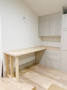 How to: Whitewash butcher block desk Butcher Block Countertops Kitchen, Butcher Block Desk, Desk Legs, Window Benches, Water Based Stain, Minwax, Raw Wood, Big Project, Types Of Wood