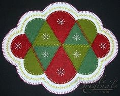 Free Wool Penny Rug Patterns | Winter Snowflakes Penny Rug Candle Mat Wool Applique PATTERN & Wool ...