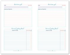 Half-Size Short Term Goal Setting Worksheet Printables to help you set, plan and track your short term term goals.