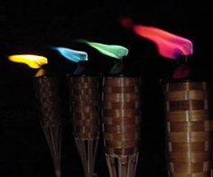 Add some visual magic to the atmosphere by lighting the color tiki torch flames at your next nighttime shindig. The easy to light canister burns bright with a vibrant colorful flame that is great for giving the surrounding a little extra character.