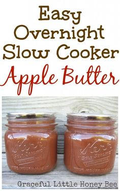 This overnight apple butter is so easy and delicious that you may never buy store bought again! Makes a great gift! This slow cooker apple butter is super simple to make and tastes delicious. You may never buy store bought apple butter again! Slow Cooker Apples, Crock Pot Slow Cooker, Crock Pot Cooking, Slow Cooker Recipes, Crockpot Fried Apples, Crock Pots, Jelly Recipes, Jam Recipes, Canning Recipes