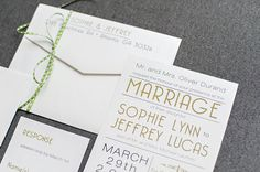 Art Deco Gatsby Shimmery Black and Gold Wedding Invitation - Custom Colors - Sophie and Jeffrey