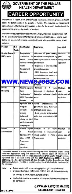 Latest Jobs in Health Department Govt Of Punjab