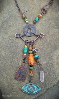 Maggie Zee close - up (Maggie Zee) Tags: tribal mojo boho charms shaman amulet talisman maggiezee Copper Jewelry, Wire Jewelry, Pendant Jewelry, Jewelry Crafts, Jewelry Art, Beaded Jewelry, Jewelery, Jewelry Design, Jewelry Ideas
