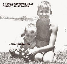 Johan HP Strauss and brother Jacobus Christoffel Strauss Botrivier Kaap c 1953/1954