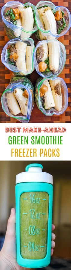 Best Make-Ahead Peanut Butter Banana Green Smoothie Packs - freeze ingredients ahead of time in freezer bags so you can quickly throw ingredients in the blender in the morning! This is my go-to green smoothie recipe I make almost every day.