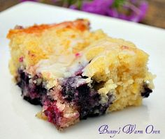 Blueberry Boyfriend Bait... This cake is so soft and moist. The blueberry and lemon flavors are so perfect together, this is truly a cake you won't forget, and will want to make over and over again.  This simple cake is one of the best cakes I've ever made.